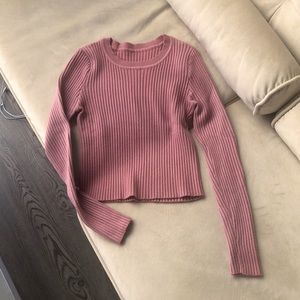 Pale Mauve Pink Cropped Long Sleeve Ribbed Top, XS